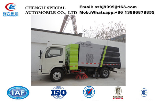 dongfeng road cleaning sweeper truck with 4m3 water and 3m3 dust, dongfeng road sweeping and washer vehicle