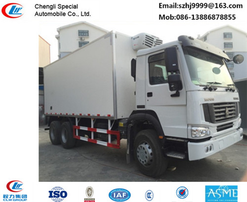 Bottom price SINO TRUK HOWO 6*4 LHD/RHD 336hp diesel refrigerated truck for sale, factory sale best price China-made 20t
