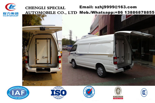 China famous high quality and low price JINBEI brand gasoline refrigerator minivan for sale, cold room van truck,